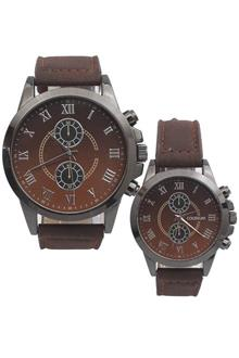 Coliseum Sweetheart Brown Leather Couples Watch