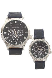 Coliseum Perfect One Navy Leather Couples Watch