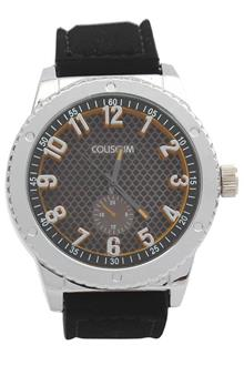 Coliseum Kawasaki Black Leather Mens Fashion Watch