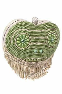 Green Gold Studded Ladies Clutch Purse