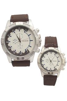 Coliseum Dearest Brown Leather Couples Watch