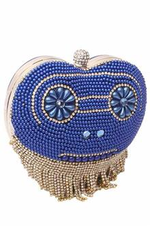 Blue Gold Studded Ladies Clutch Purse