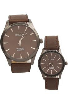 Coliseum Cherish Me Brown Leather Couples Watch