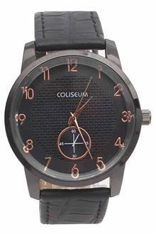 Coliseum Geometry Black Leather Mens Fashion Watch
