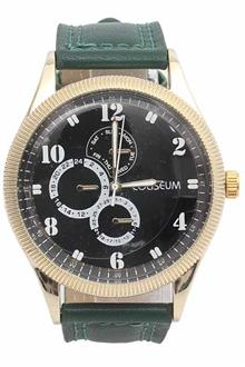 Coliseum Surprise Green Leather Mens Fashion Watch