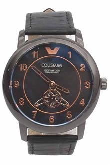 Coliseum Exchange Black Leather Mens Fashion Watch