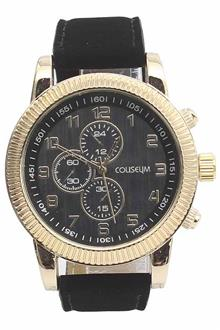 Coliseum  Porte Black Leather Mens Fashion Watch