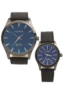 Coliseum Jewel Black Leather Couples Watch