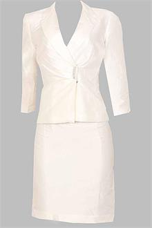 Nicolette White Polyester Fabric Ladies Skirt Suit