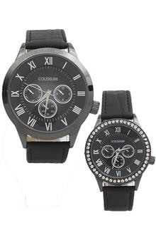Coliseum Forever Black Leather Couples Watch