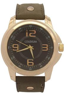 Coliseum Vintage Green Leather Mens Fashion Watch