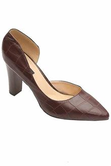 Zara Brown Leather Heel Shoe