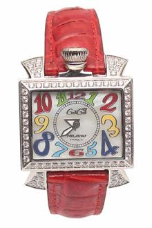 Gaga Milano Silver Red Leather Ladies Watch