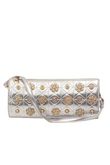 Miss Sixty Silver Studded Leather Clutch Purse