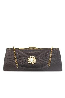 Black Glitz Studded Big Clutch Purse