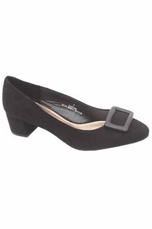 M&S Collection Wider Fit Black Suede Leather Ladies Heel Shoe