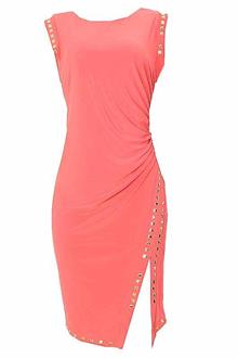 Belle Juene Peach Lycra Dress