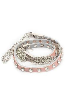 Fashion Pink Studded Leather Ladies Thin Belt