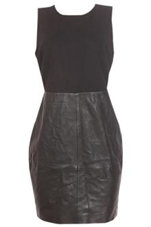 M & S Collection Black Sleeveless Leather Ponte Ladies Mini Dress