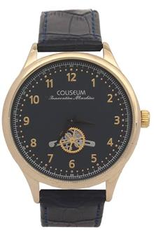Coliseum Machine Navy Leather Mens Fashion Watch