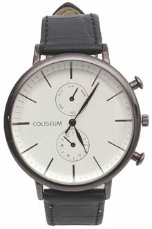 Coliseum Bold Black Leather Mens Fashion Watch