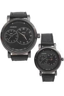 Coliseum Mine Black Leather Couples Watch