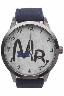 Mr. Coliseum Blue Leather Mens Fashion Watch