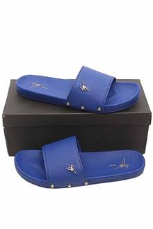 Guisepe Zanotti Blue Leather Men Slide Slippers