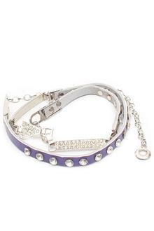 Fashion Purple Studded Leather Ladies Slim Belt
