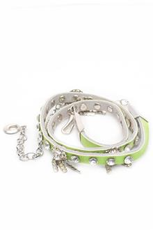 Fashion Green Studded Leather Ladies Slim Belt